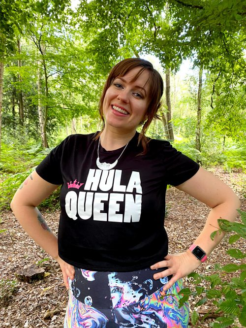Woman modelling Black Hula Queen Cropped Tee